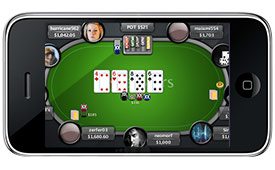 Online poker game played on iPhone