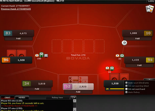 Live game of poker on Bovada.lv