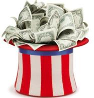 Dollar bills inside an USA hat