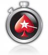 PokerStars logo inside a clock