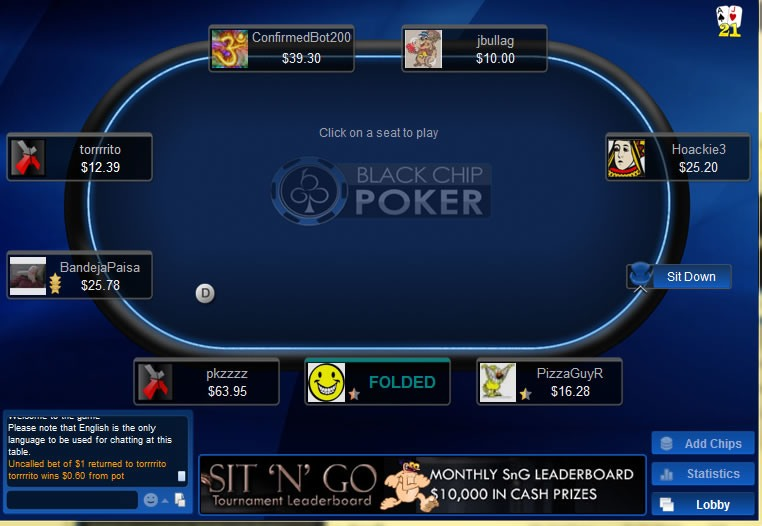 Black Chip poker table during an online game