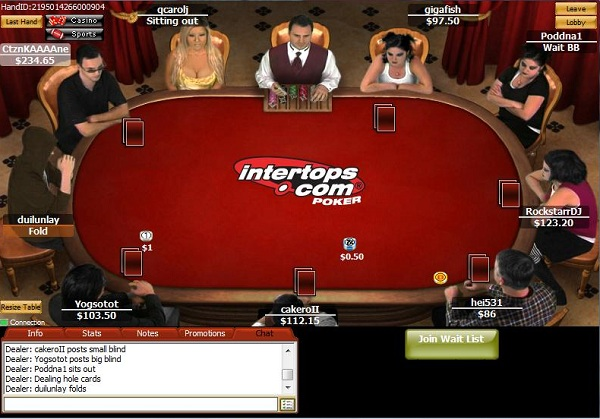 Screen shot of Intertops poker table during an online game