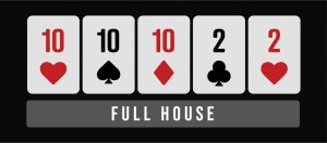 Full house poker hand infographic