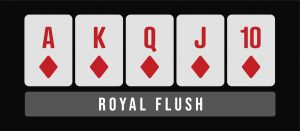 Royal flush poker hand infographic